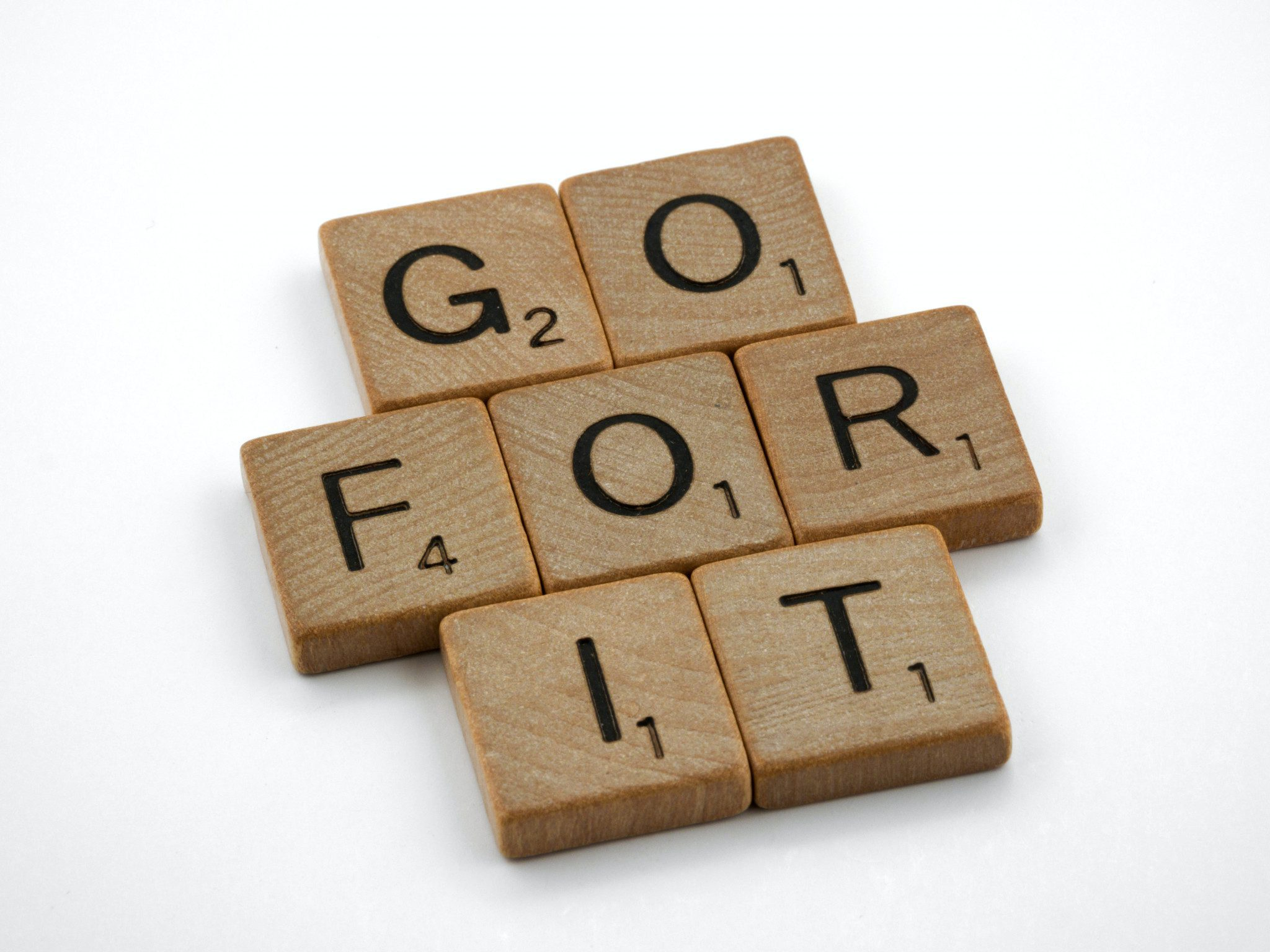 Image of scrabble pieces stating GO FOR IT